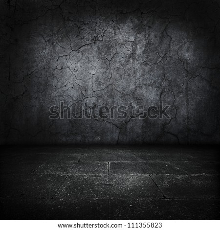 Dark grungy stone room or chamber. - stock photo