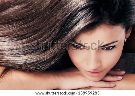 dark hair young beautiful woman portrait - stock photo