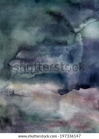 Dark hand-painted watercolor texture background - stock photo