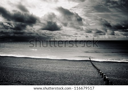 Dark horizon, Brighton - stock photo
