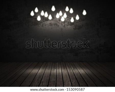 dark interior with light bulbs - stock photo