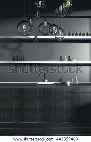 Dark kitchen counter with sink and shelves with items. Front view, 3D Rendering - stock photo