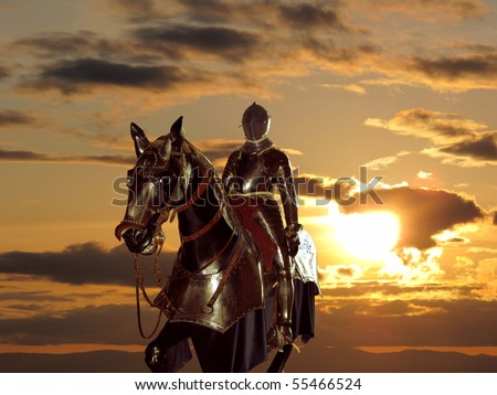 Dark knight and susnet - stock photo