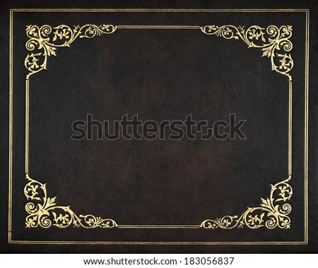 Dark leather book cover - stock photo
