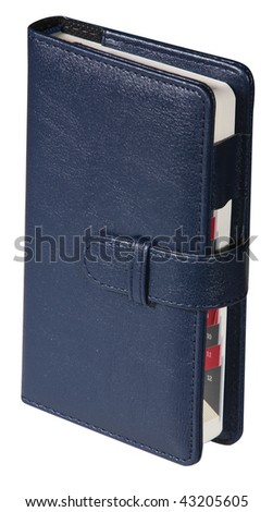 Dark leather notebook in the white background - stock photo