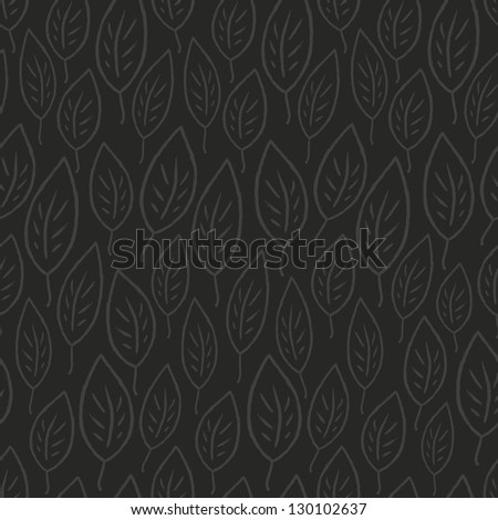 Dark leaves abstract seamless pattern. Raster version, vector file available in portfolio. - stock photo