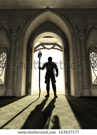 Dark Lord in skull armour standing silhouetted in a bright doorway, 3d digitally rendered illustration - stock photo