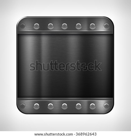 Dark metal texture icon (button) on neutral background, template for applications (app), web user interfaces, internet sites and business presentations. - stock photo