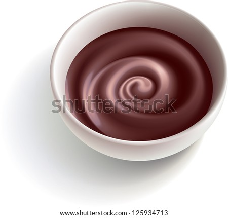 Dark molten chocolate swirling in the white cup. Raster image. Find editable version in my portfolio. - stock photo