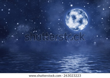 dark night illustration with full moon with bright shining stars and nebula over water with waves - stock photo