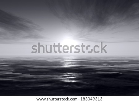 Dark ocean scene with moon light - stock photo