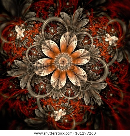 Dark orange fractal flower, digital artwork graphic - stock photo