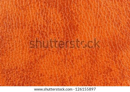 Dark Orange Patterned Leather Texture - stock photo