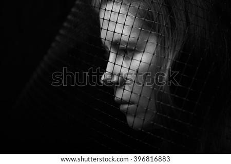 dark portrait - stock photo