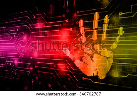 dark purple red yellow Abstract digital conceptual technology security background with lock. computer technology website internet web. infographics. fingerprint. Finger-print scanning. Hand print. - stock photo