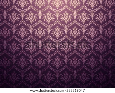 Dark purple wallpaper with golden floral pattern - stock photo