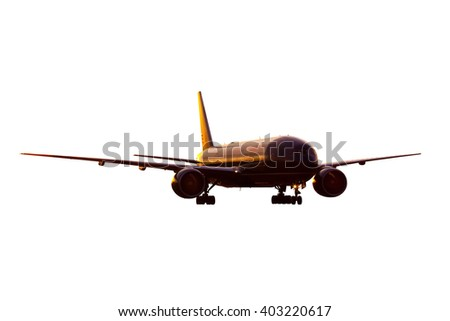 Dark red / burgundy wide-body passenger aircraft with gear - stock photo