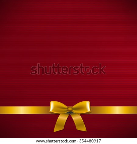 Dark Red Card With Golden Ribbon  - stock photo
