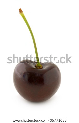 Dark red cherry, with stalk. Isolated on white background, with shadow. - stock photo