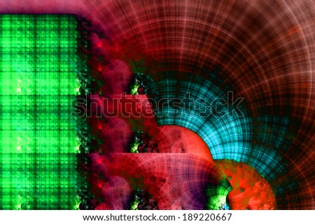 Dark red,cyan and green abstract crazy strange fractal background with a detailed star-like circular pattern on the right and a decorative detailed square grid on the left - stock photo