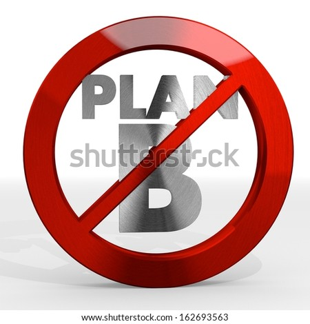 Dark red  isolated warning 3d graphic with alternative plan b sign not allowed - stock photo