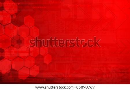 Dark red tech background - stock photo