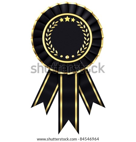 Dark ribbon award isolated on a white background. - stock photo