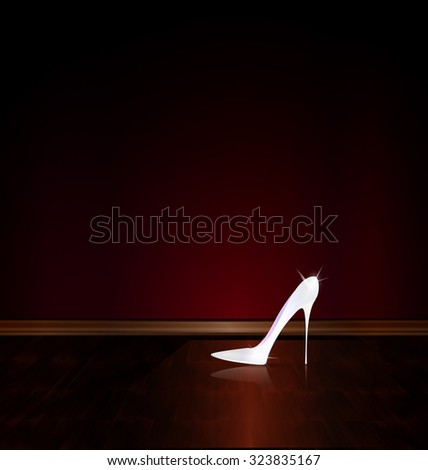 dark room and the white shoe - stock photo