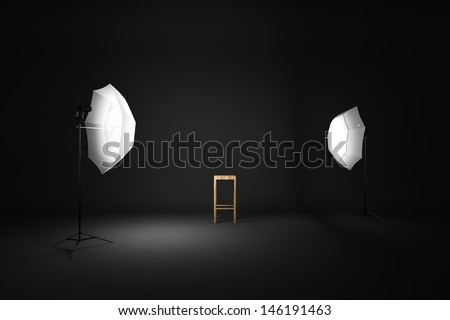 Dark room studio and wood chair 3D rendering - stock photo