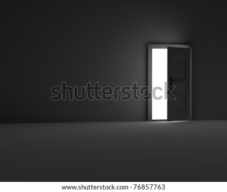 dark room with open door - stock photo