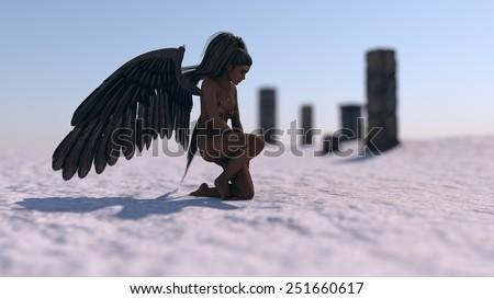 dark sad angel on ice terrain in front of ruins - stock photo