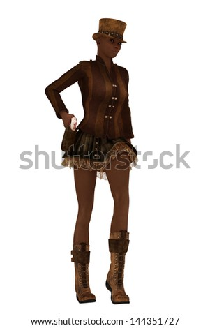 Dark skinned female in retro steampunk clothing drawing sidearm from holster - stock photo