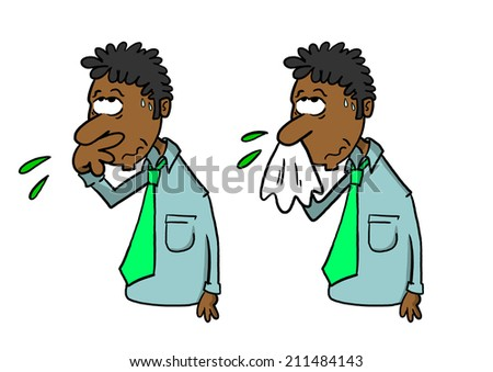 Dark skinned man wiping nose with hand and blowing nose with handkerchief - stock photo