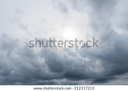 Dark sky before strom,sea ,daylight - stock photo