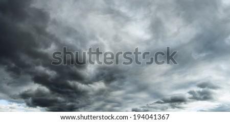 Dark Sky Storm Dramatic Clouds - stock photo