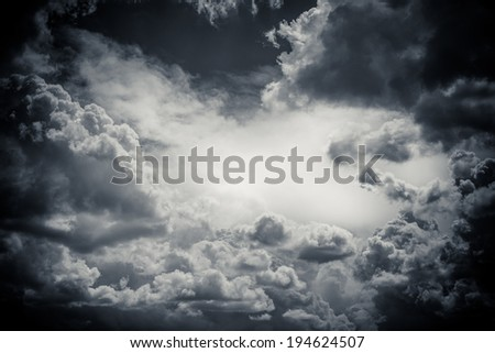 Dark Sky with Detailed Storm Clouds - stock photo