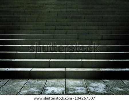 Dark stone stairs. - stock photo