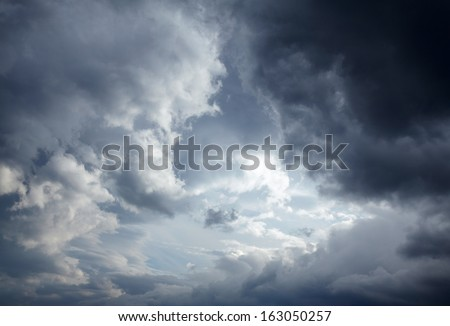 Dark storm clouds background - stock photo