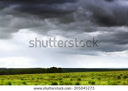Dark stormy clouds over a green wheat field - stock photo