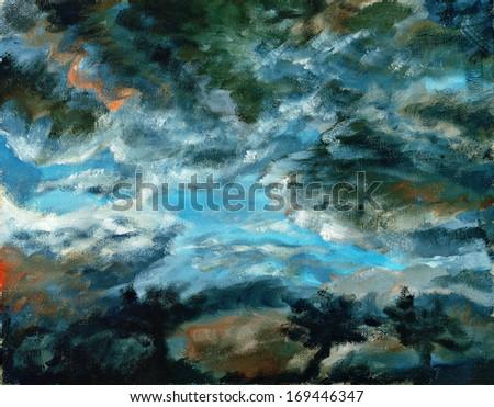 Dark stormy sky. Painting - stock photo