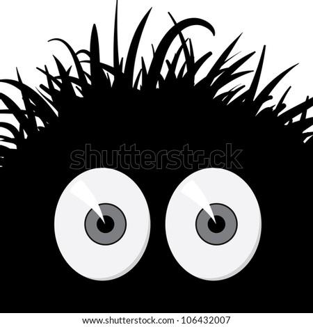 Dark, strange, comic frightened creature - illustration - stock photo