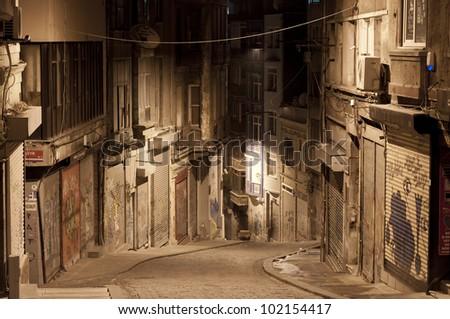 Dark street in night, Istanbul, Turkey - stock photo