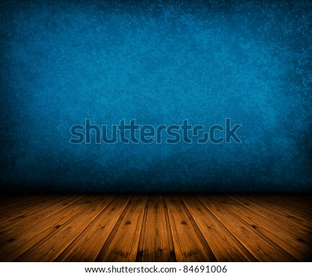 dark vintage blue room with wooden floor and artistic shadows added - stock photo