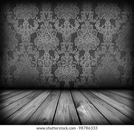 dark vintage room with wooden floor and artistic shadows added - stock photo