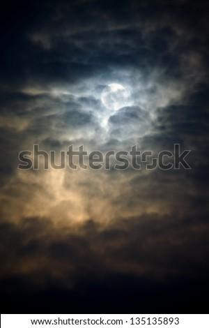 Dark winter sky with thick clods - stock photo