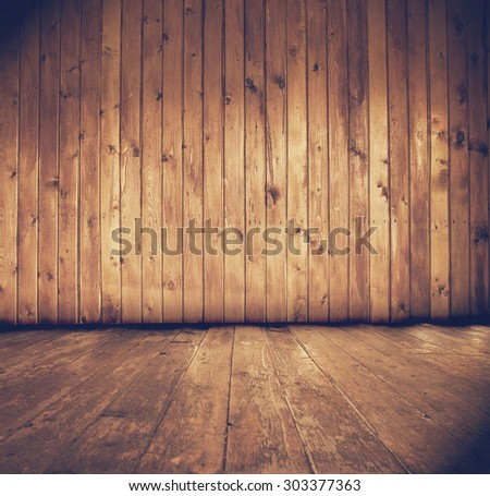 dark wooden interior, retro filtered, instagram style - stock photo