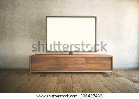 Dark wooden TV cabinet with blank white TV in room interior. Mock up, 3D Rendering - stock photo