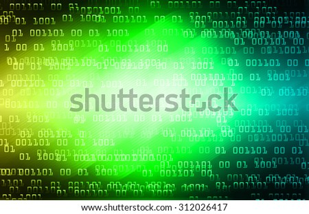dark yellow green blue illustration of technology internet network computer background with binary number, style background. infographics. Information. light ray. wave. pixel - stock photo