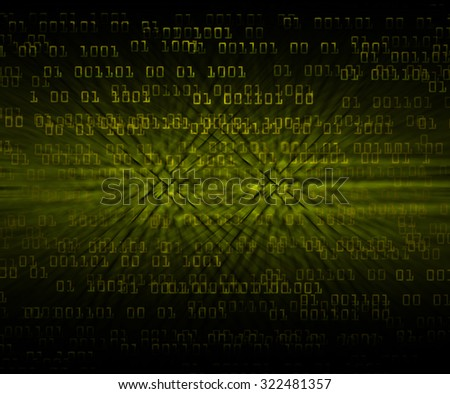 dark yellow illustration of technology internet network computer background with binary number, style background. infographics. Information. motion blur. pixel. Binary digit - stock photo
