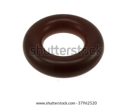 Darkly red elastomeric ring isolated on a white background - stock photo